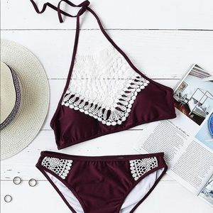 Other - ❤️ NEW ARRIVAL Lace Crochet Halter Top Bikini Set